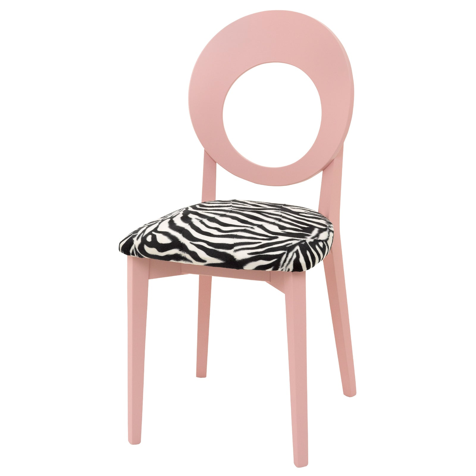 Chloe Contemporary Italian Chair in Luxurious Zebra Faux Fur and hand finished in Farrow & Ball Nancy's Blushes