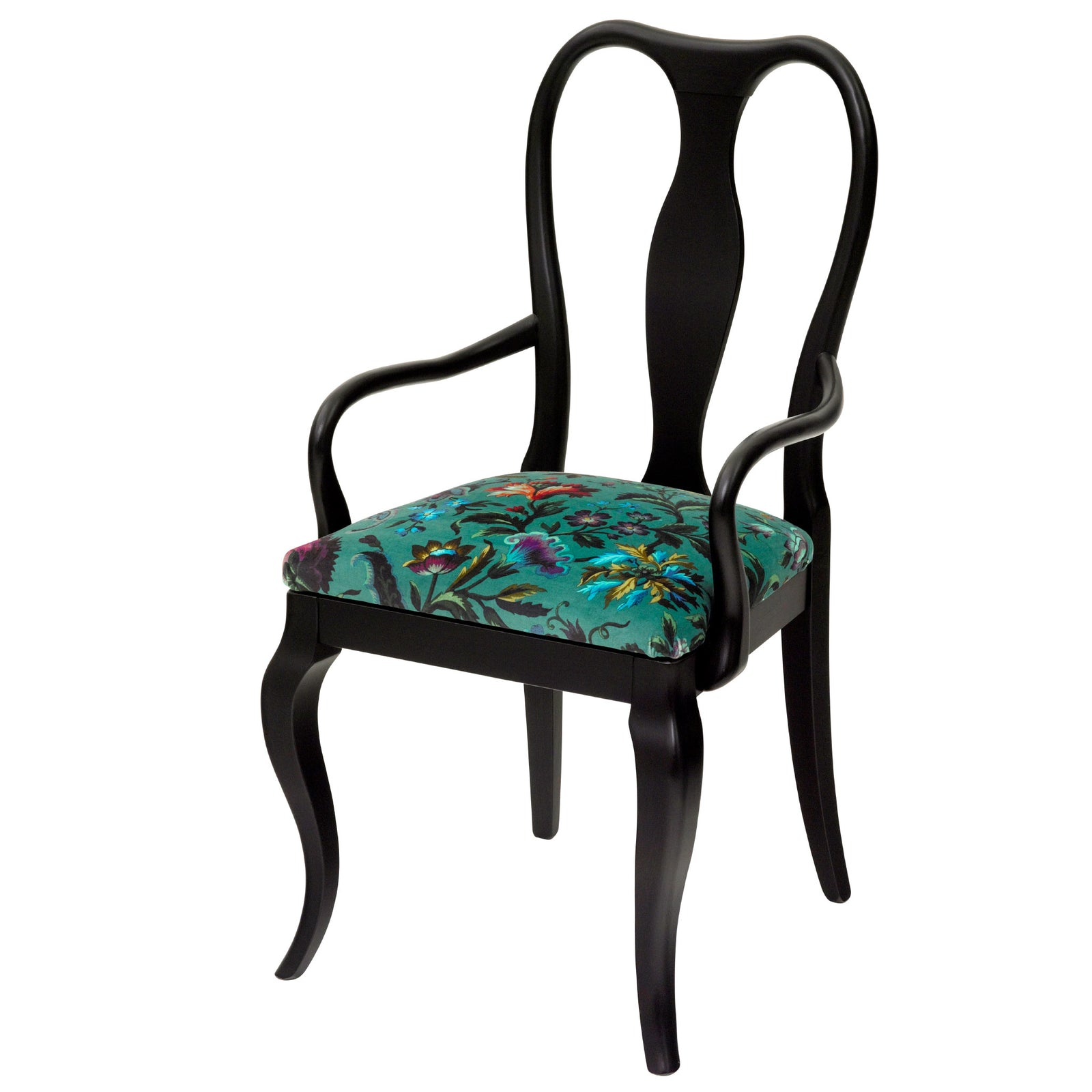 Black Contemporary Chair upholstered in Florika by House of Hackney