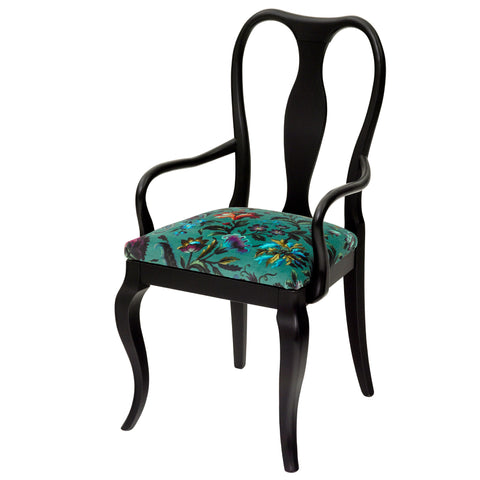 Chloe Italian Dining Chair Upholstered in Tizzy Peaks By Jon Burgerman