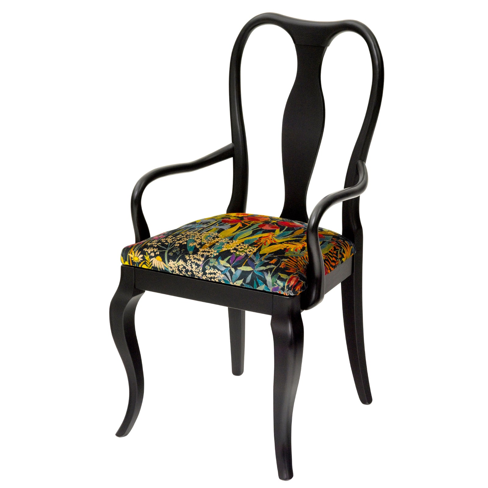 Designer Dining Chair in Black with an upholstered seat in Liberty London Velvet