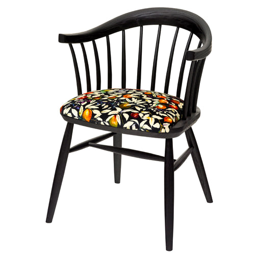Handmade Darwin Dining Chair in solid ash with black oiled finish, upholstered in Fruit Billet velvet from Liberty London