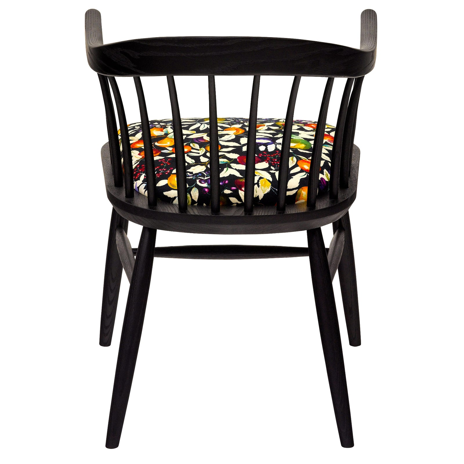The Darwin Armchair Upholstered in Liberty London Fruit Billett Vintage Velvet with A Black Finish