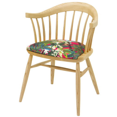 Hand Crafted Designer Dining Chair in solid english ash with a natural oiled finish, upholstered in Canopy by Christian Lacroix