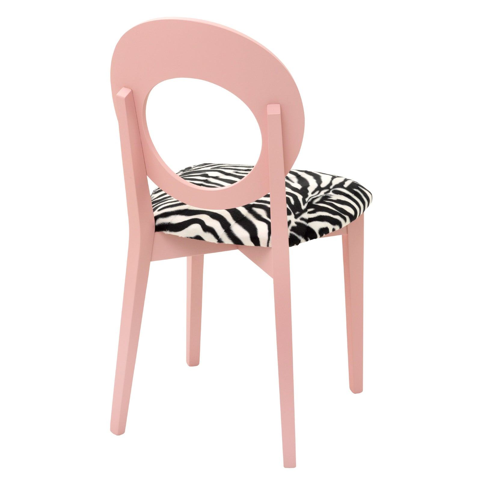 Chloe Contemporary Chair  in Luxurious Zebra Faux Fur and hand finished in Nancy's Blushes