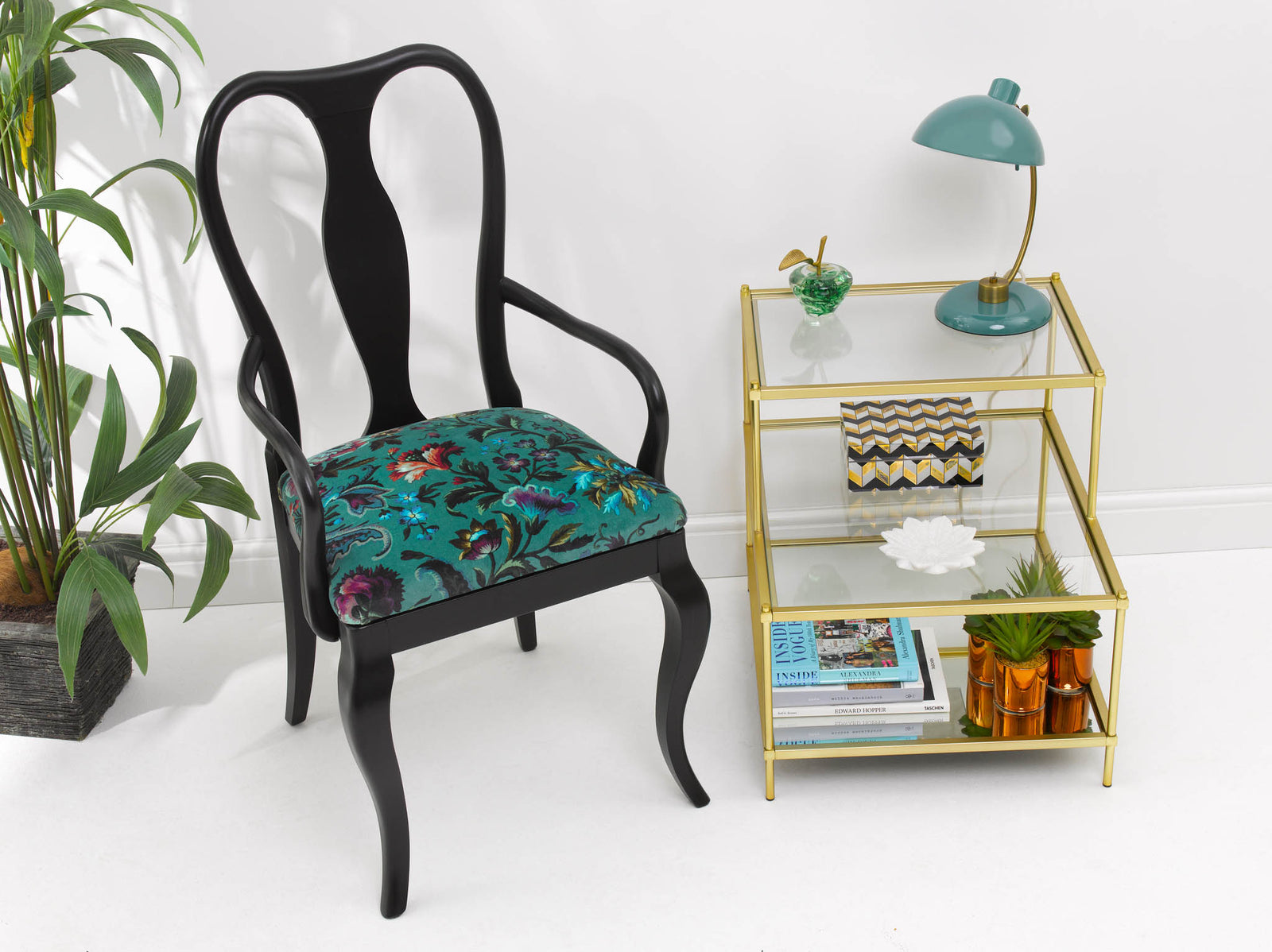 Contemporay Black Armchair upholstered in Florika plush velvet from House of Hackney