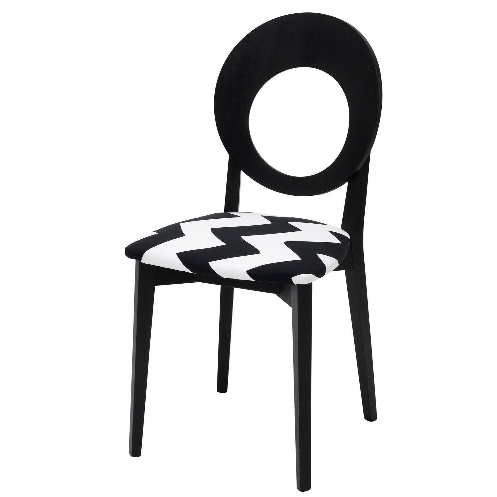 Black Italian Dining Chair Upholstered in Tizzy Peaks By Jon Burgerman