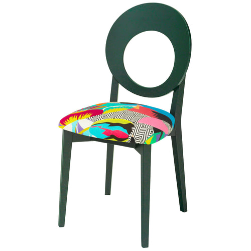 Chloe Contemporary Chair in the Colourful Tropicalia from Kitty Mccall Finished in Hunter Green