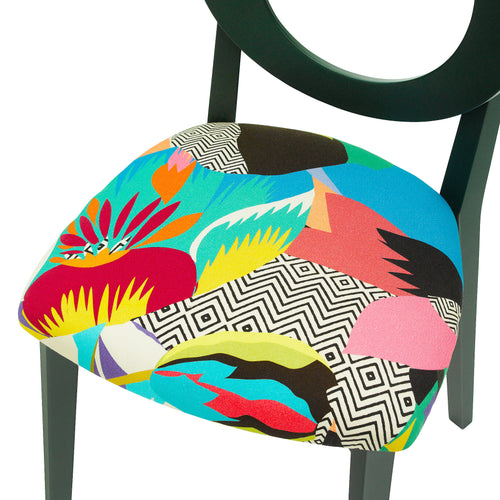 Chloe Contemporary Chair in the Colourful Tropicalia from Kitty Mccall Finished in Deep Green