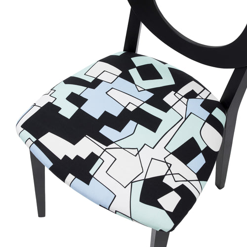Seat view of the Chloe designer dining chair is upholstered with the distinctive doodle design by Jon Burgerman and finished in Jack Black eggshell.