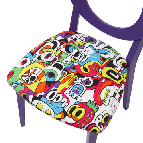 Seat view of the Chloe designer dining chair painted purple upholstered in Frooty Tooty Tropical fabric by Jon Burgerman