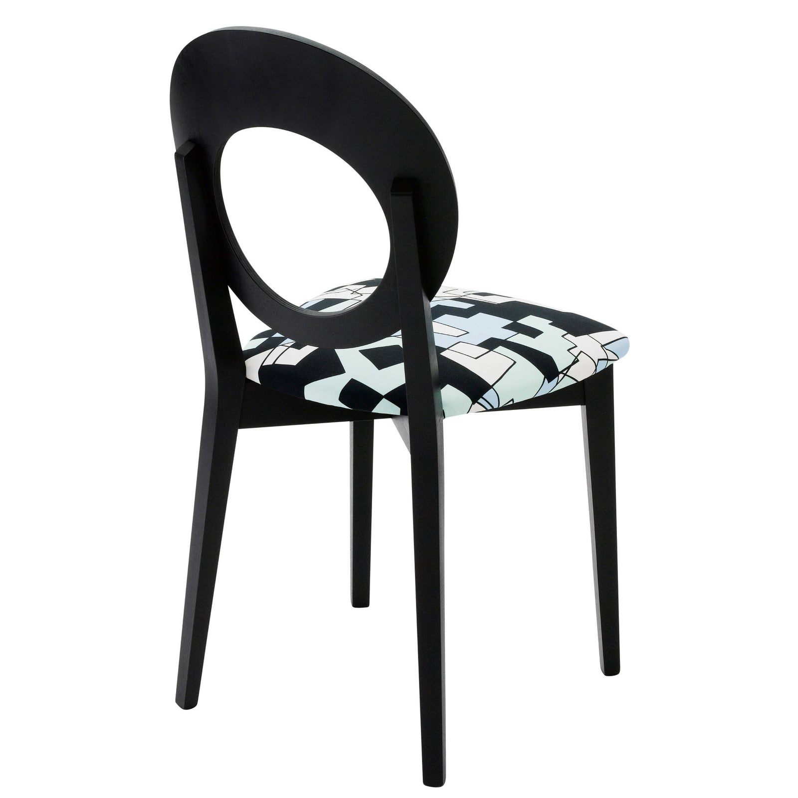 Rear  view of the Chloe designer dining chair is upholstered with the distinctive doodle design by Jon Burgerman and finished in Jack Black eggshell.