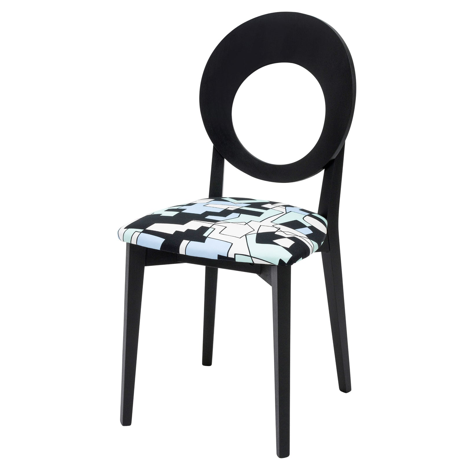 The Chloe designer dining chair is upholstered with the distinctive doodle design by Jon Burgerman and finished in Jack Black eggshell.