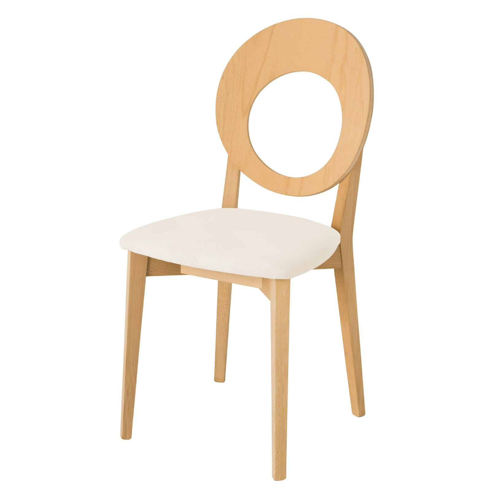 Chloe dining chair with untreated wood finish and plain seat fabric.