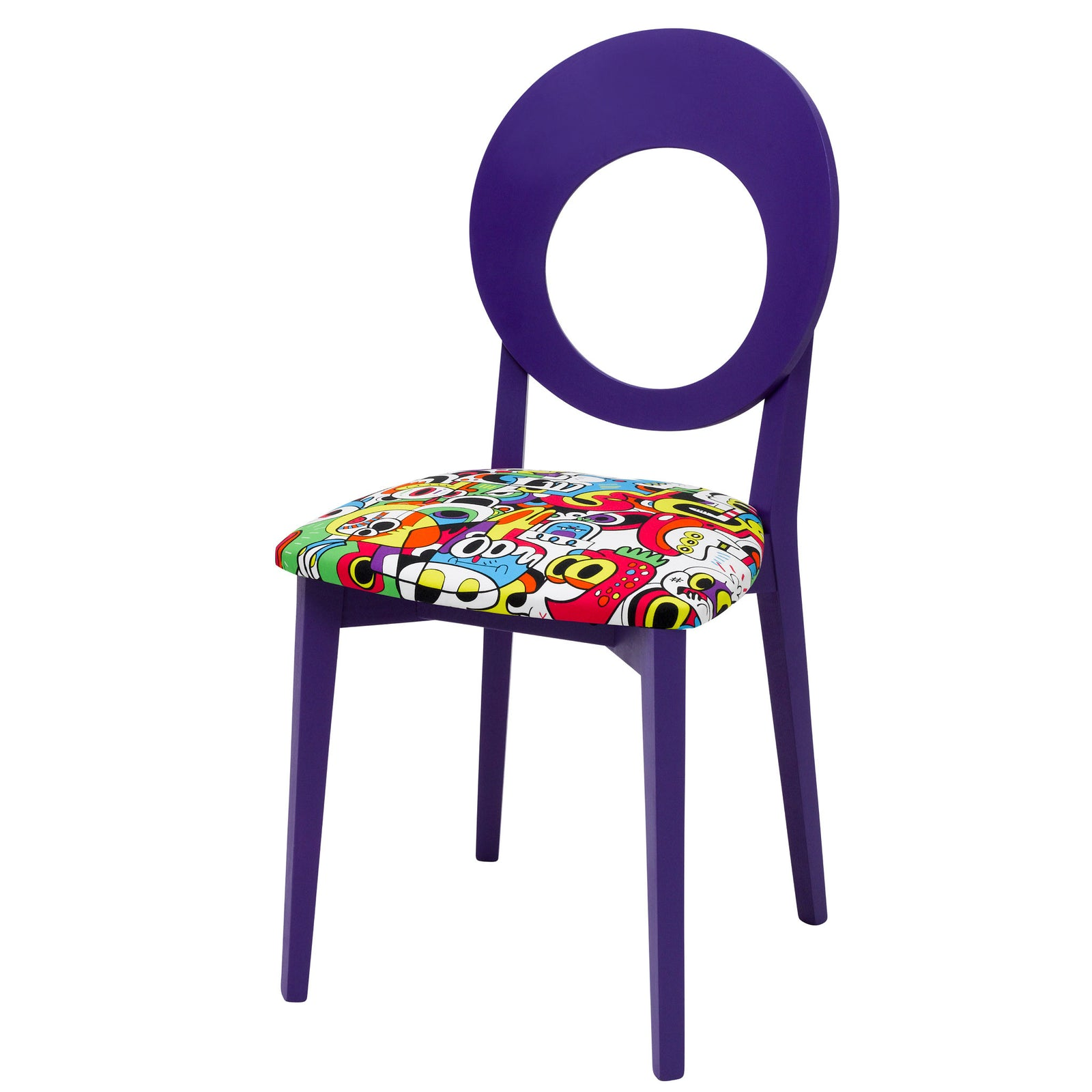 Chloe designer dining chair painted purple upholstered in Frooty Tooty Tropical fabric by Jon Burgerman.