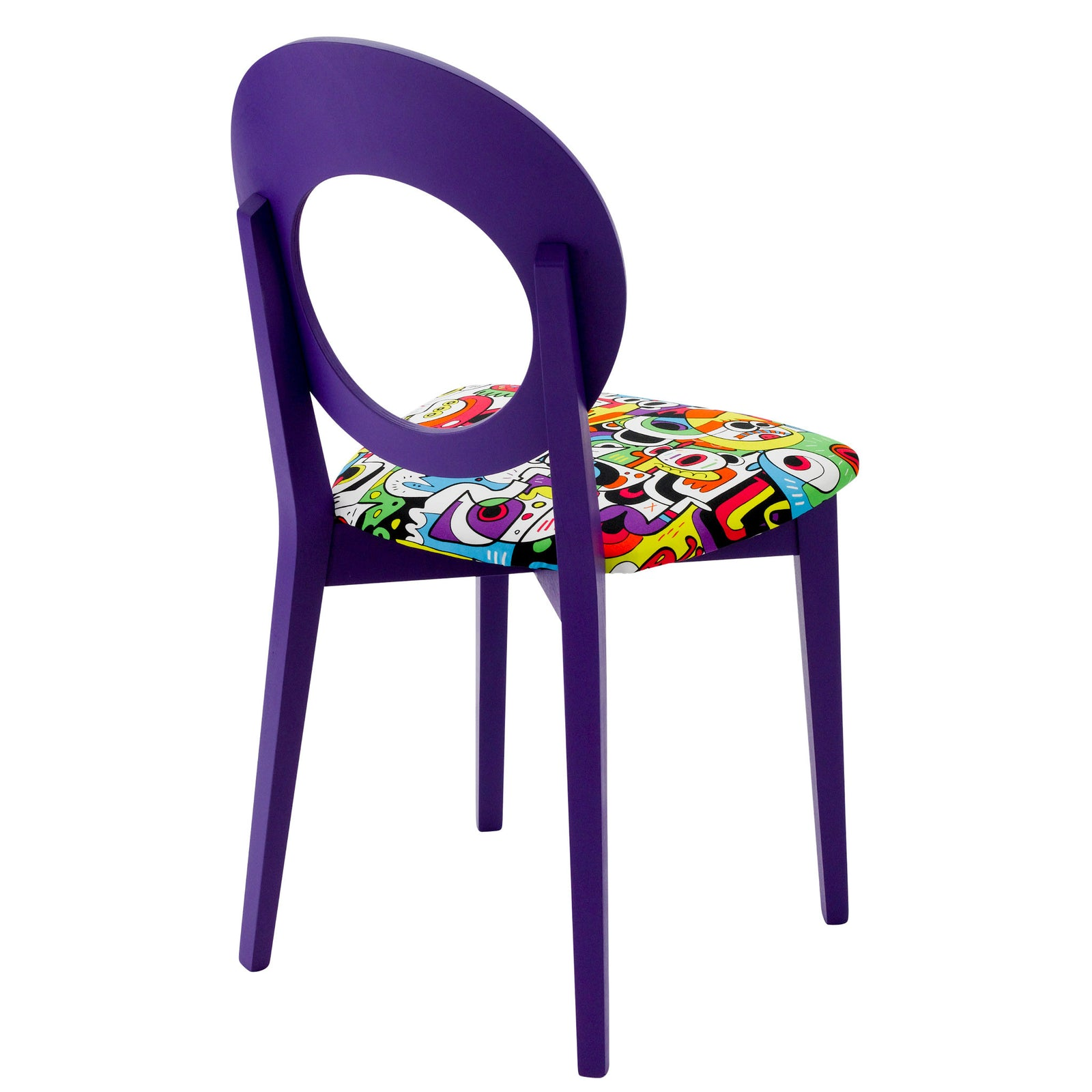 Rear view of the Chloe designer dining chair painted purple upholstered in Frooty Tooty Tropical fabric by Jon Burgerman.