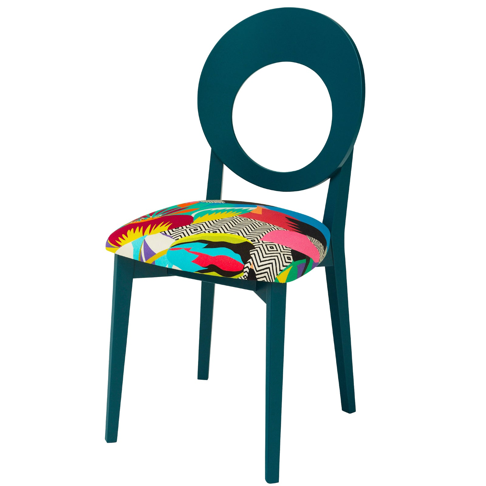 Chloe Contemporary Chair in the Colourful Tropicalia from Kitty Mccall Finished in Teal