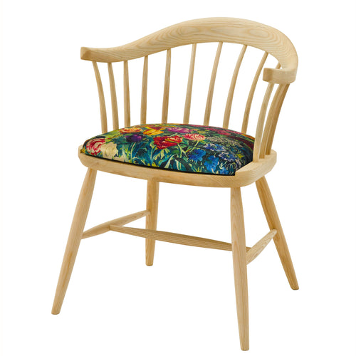 Hand crafted Darwin Dining Chair with seat upholstered in Gail's Garden from Liberty London