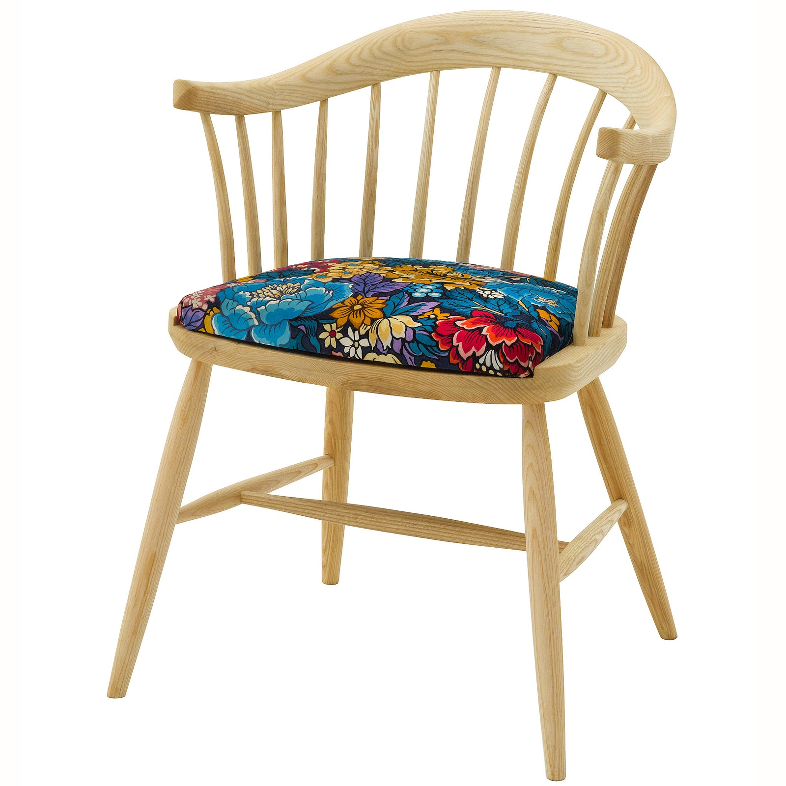 Handmade Darwin Dining Chair upholstered in Garden of Beauty velvet from Liberty London