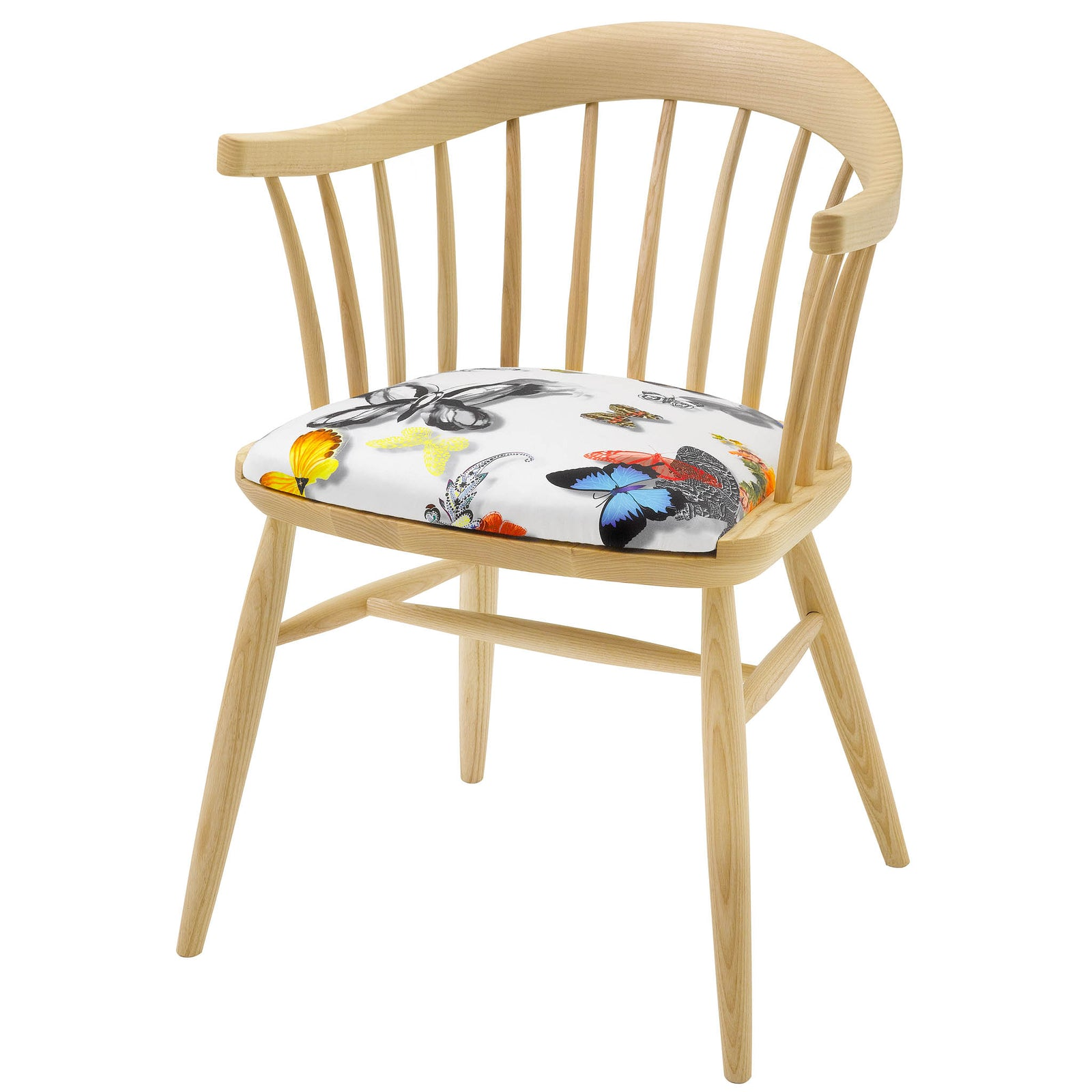 Hand Crafted Contemporary Dining Chair in solid english ash with a natural oiled finish, upholstered in Butterfly Parade by Christian Lacroix