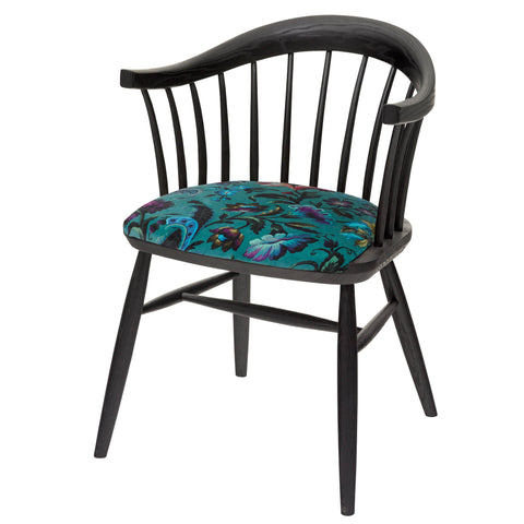 The Marco Chair Upholstered in Florika by House of Hackney, finished in matt black