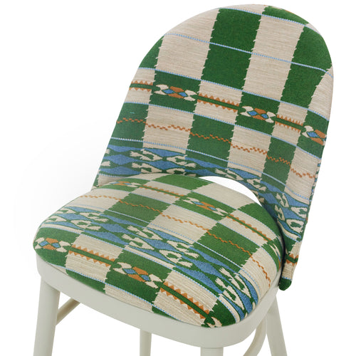 The Stylish Ella Chair Upholstered in the wonderful Chubby Check by Kit Kemp