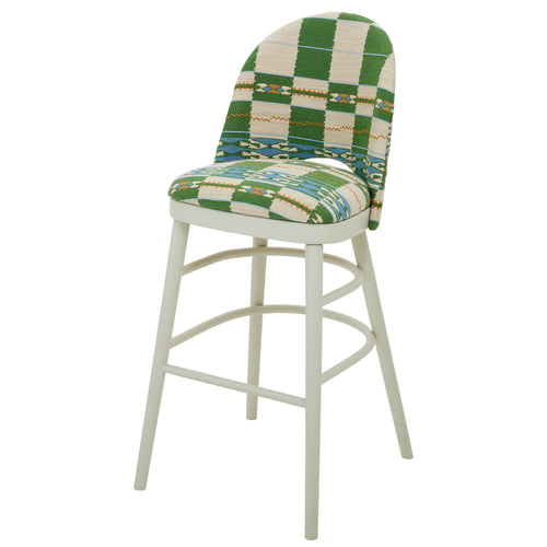 The Luxury Ella Bar Stool Upholstered in the wonderful Chubby Check by Kit Kemp