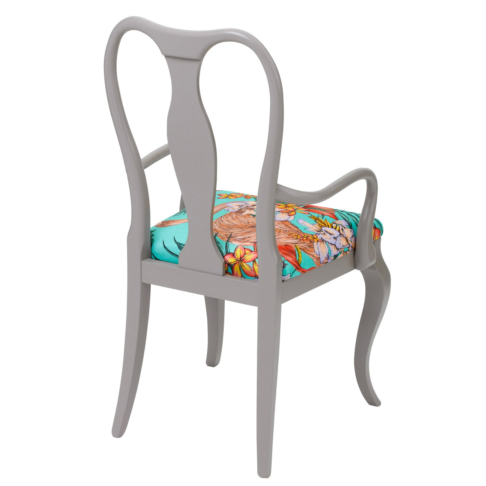Rear view of the Fifi dining chair upholstered in Flamingo print finished in Grey paint.