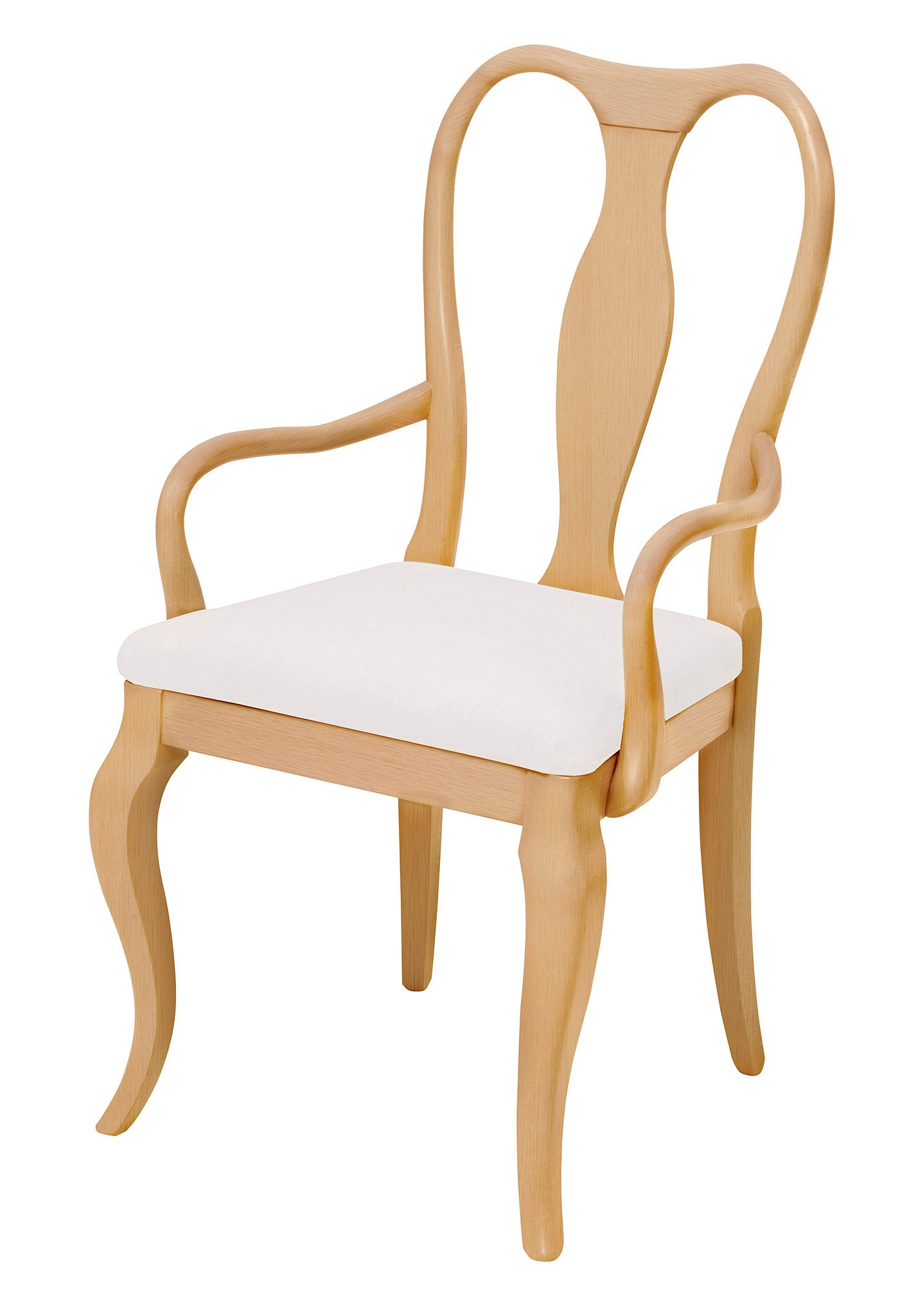 Fifi designer dining chair finished in natural wood and plain seat fabric.