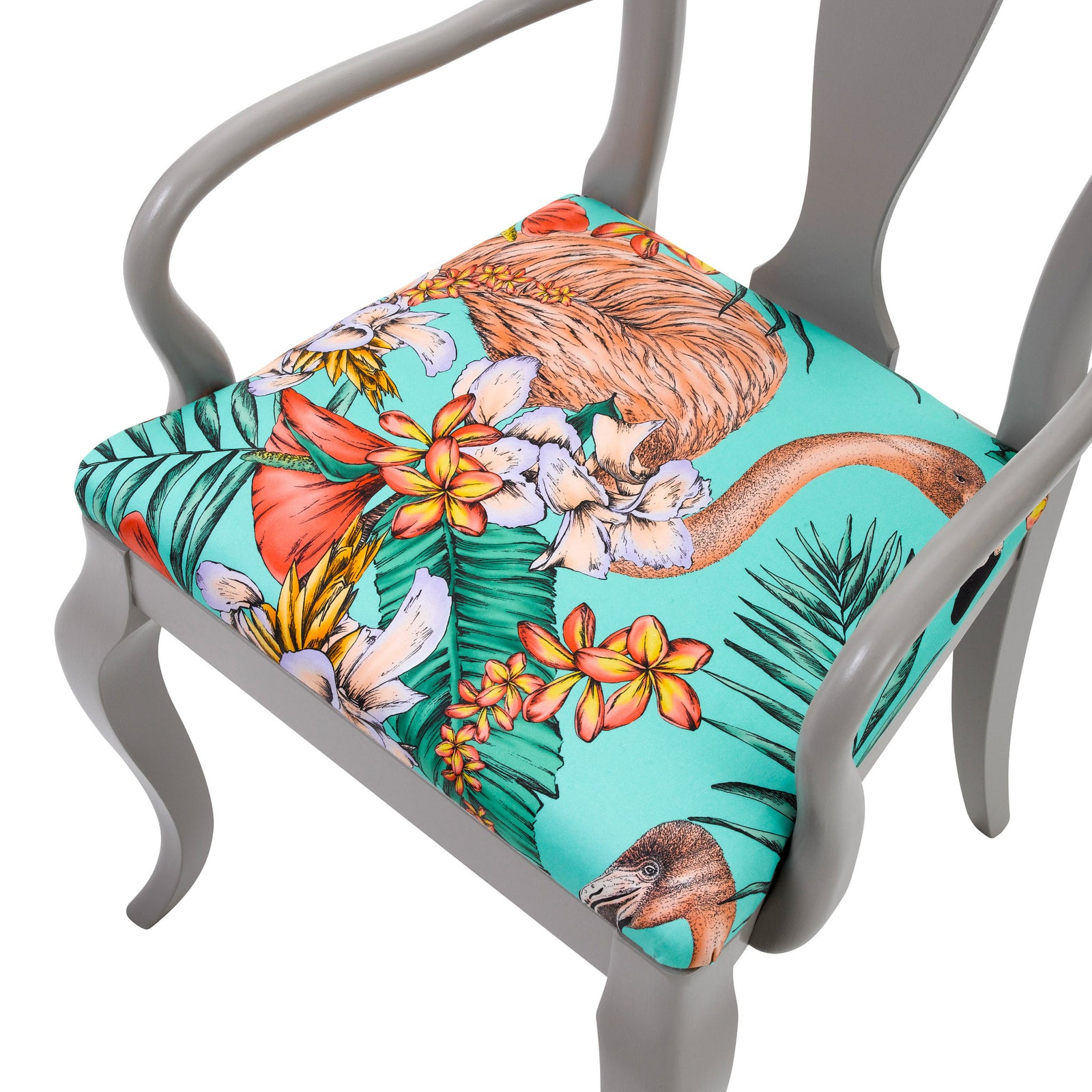 Seat view of the Fifi dining chair upholstered in Flamingo print finished in Grey paint.