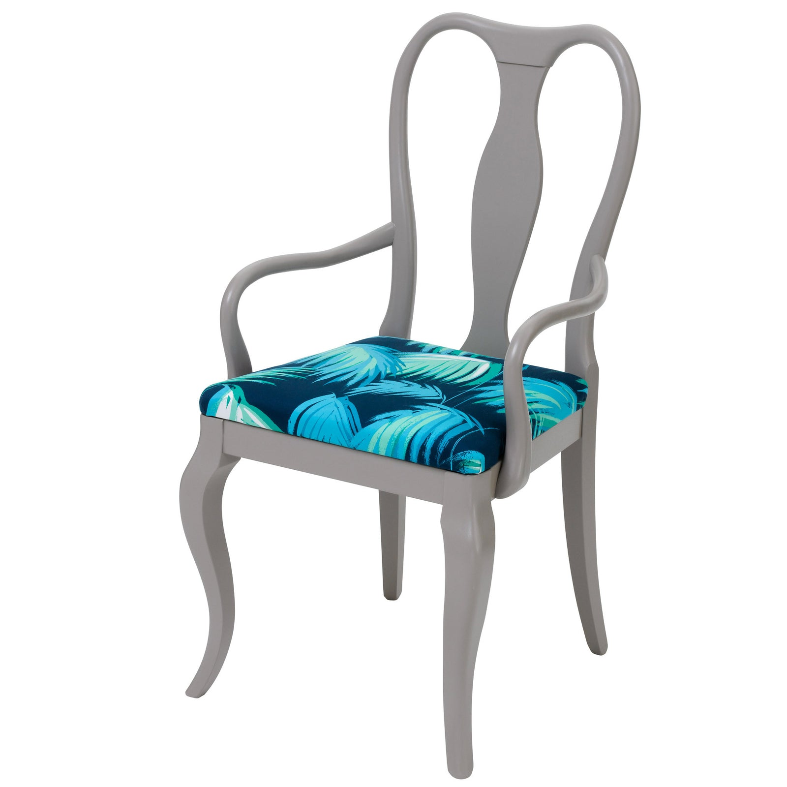 Contemporary Dining Chair upholstered in Matthew Williamson Tropicana, finished in grey