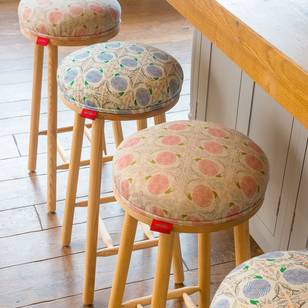 The Turner Counter Stool Upholstered in  Pond Dipping by Noble Deeds
