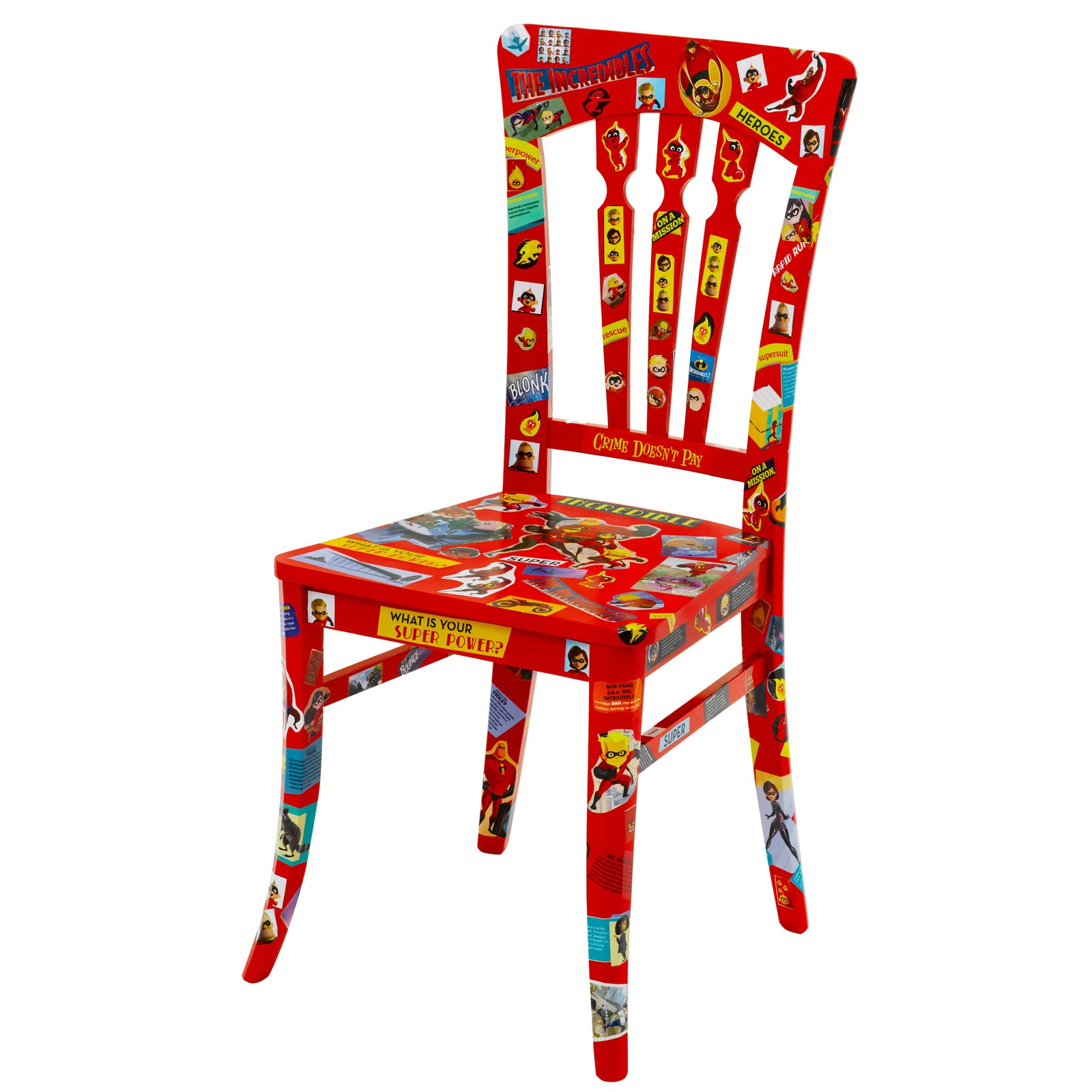 An Incredible Incredibles Decoupage Chair created with Incredible comic strips finished in red