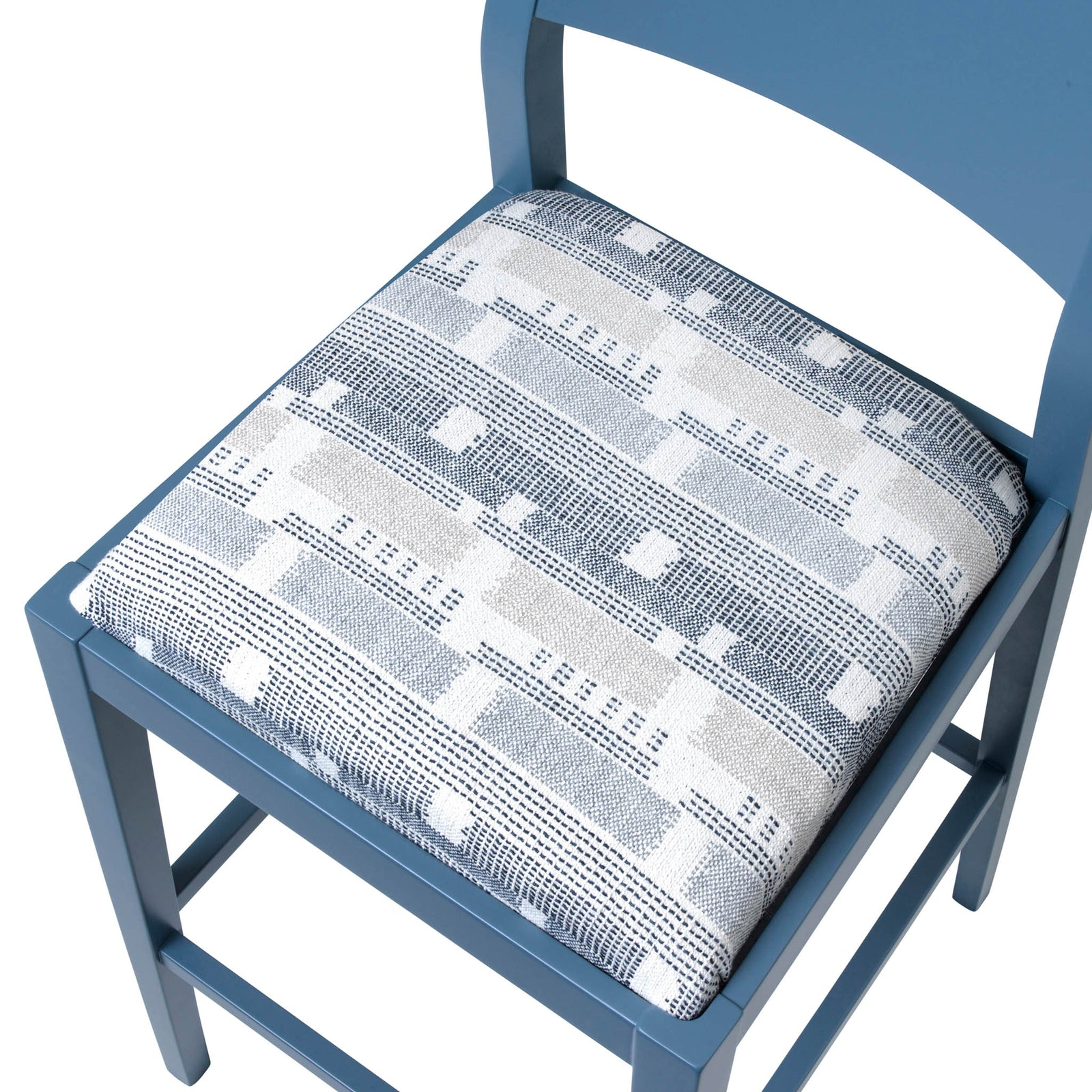James Luxury Bar Stool Upholstered in the luxury Loom Weave Blue from Kit Kemp