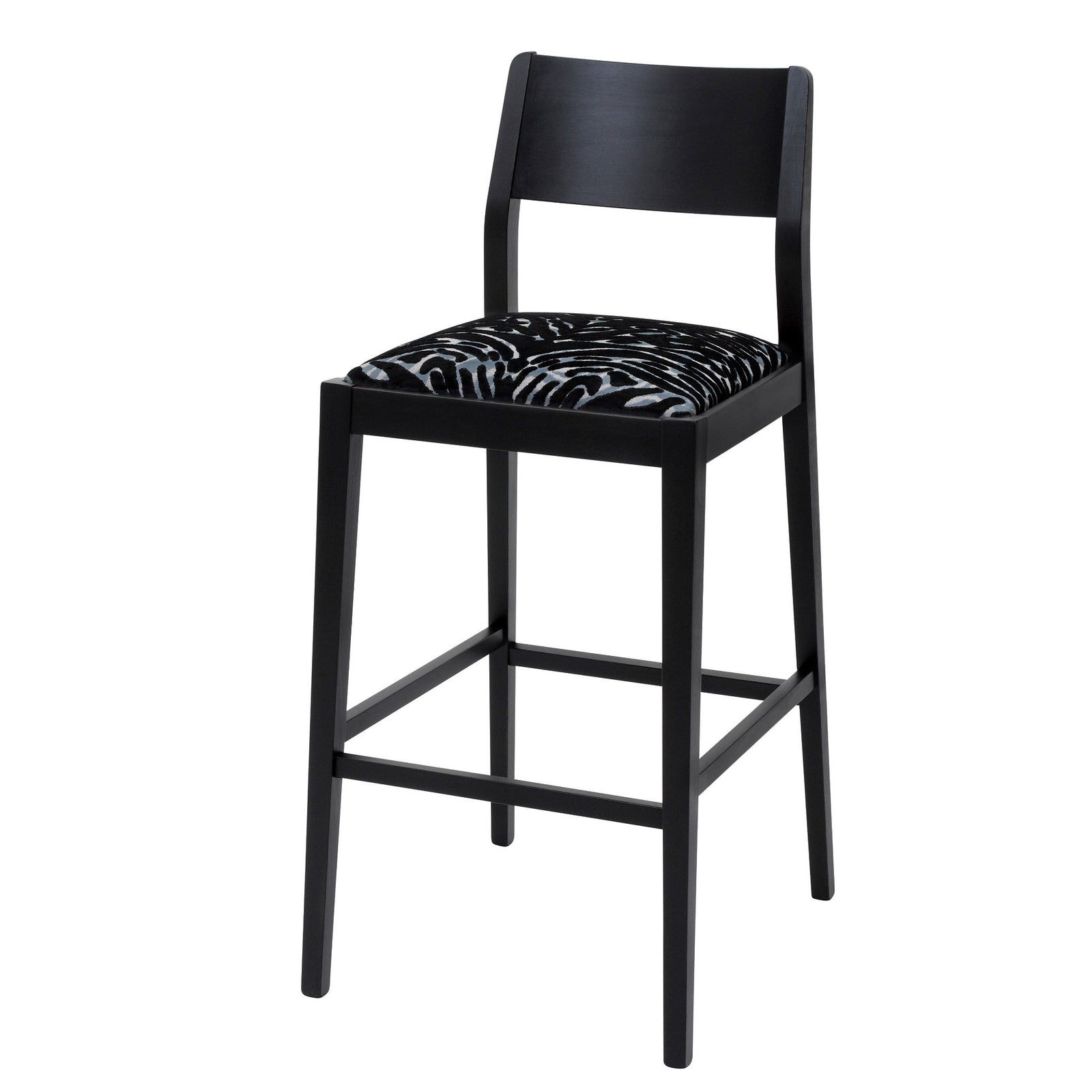 The James Bar Stool upholstered in Soft Pantigre Onyx finished in matte black.