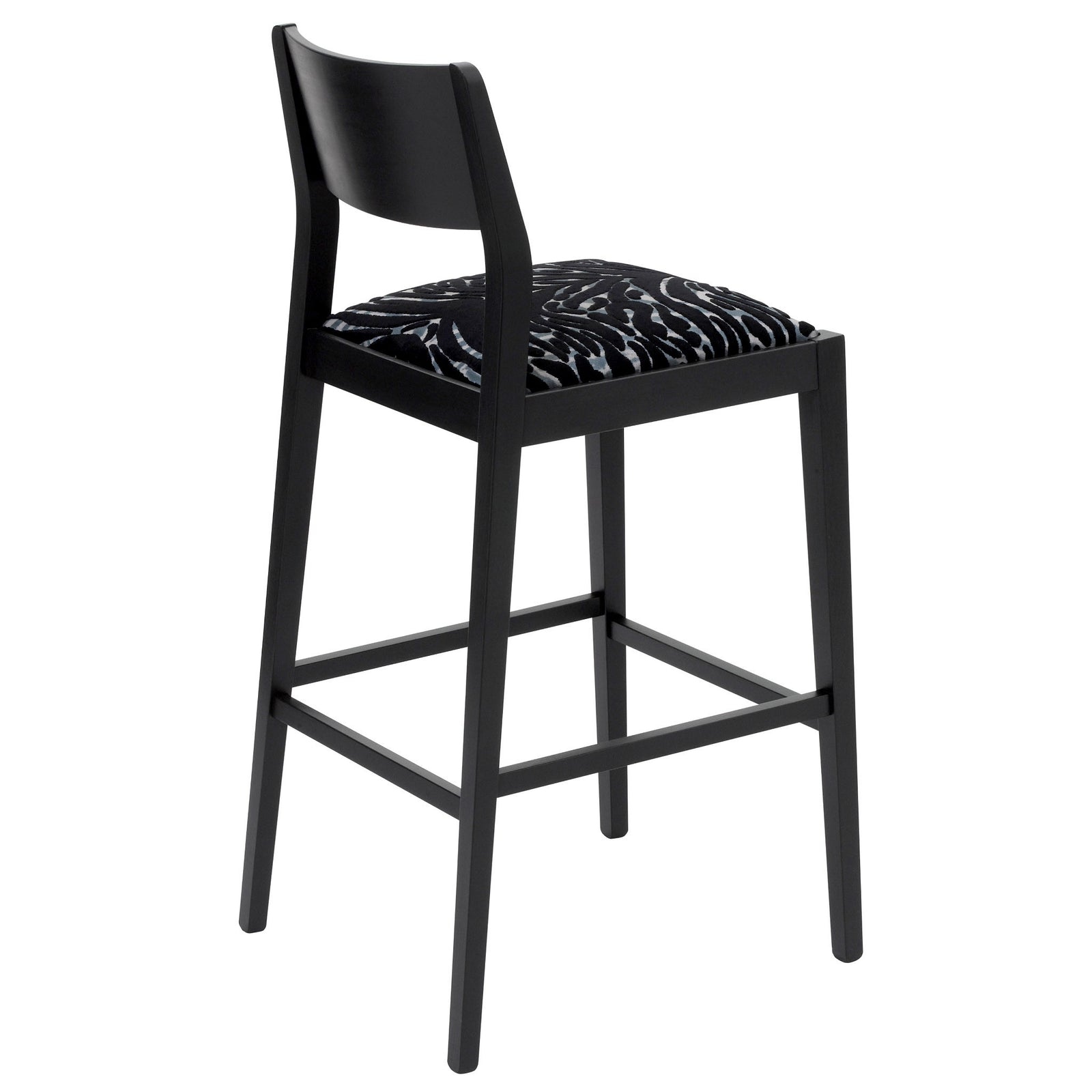 Rear view of the James Bar Stool upholstered in Soft Pantigre Onyx finished in matte black.