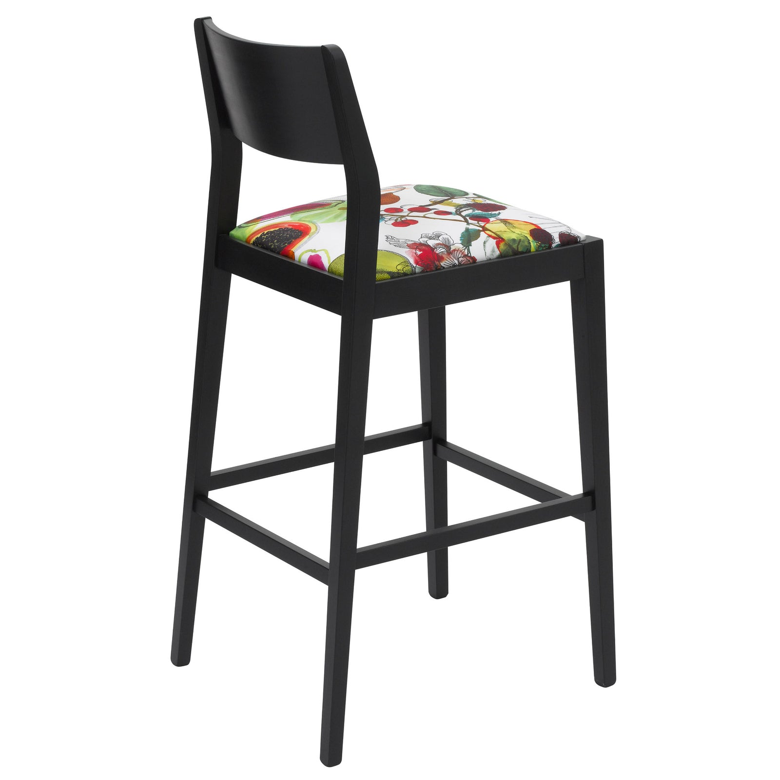 Rear view of the James Bar Stool upholstered with Christian Lacroix fabric, finished in black.