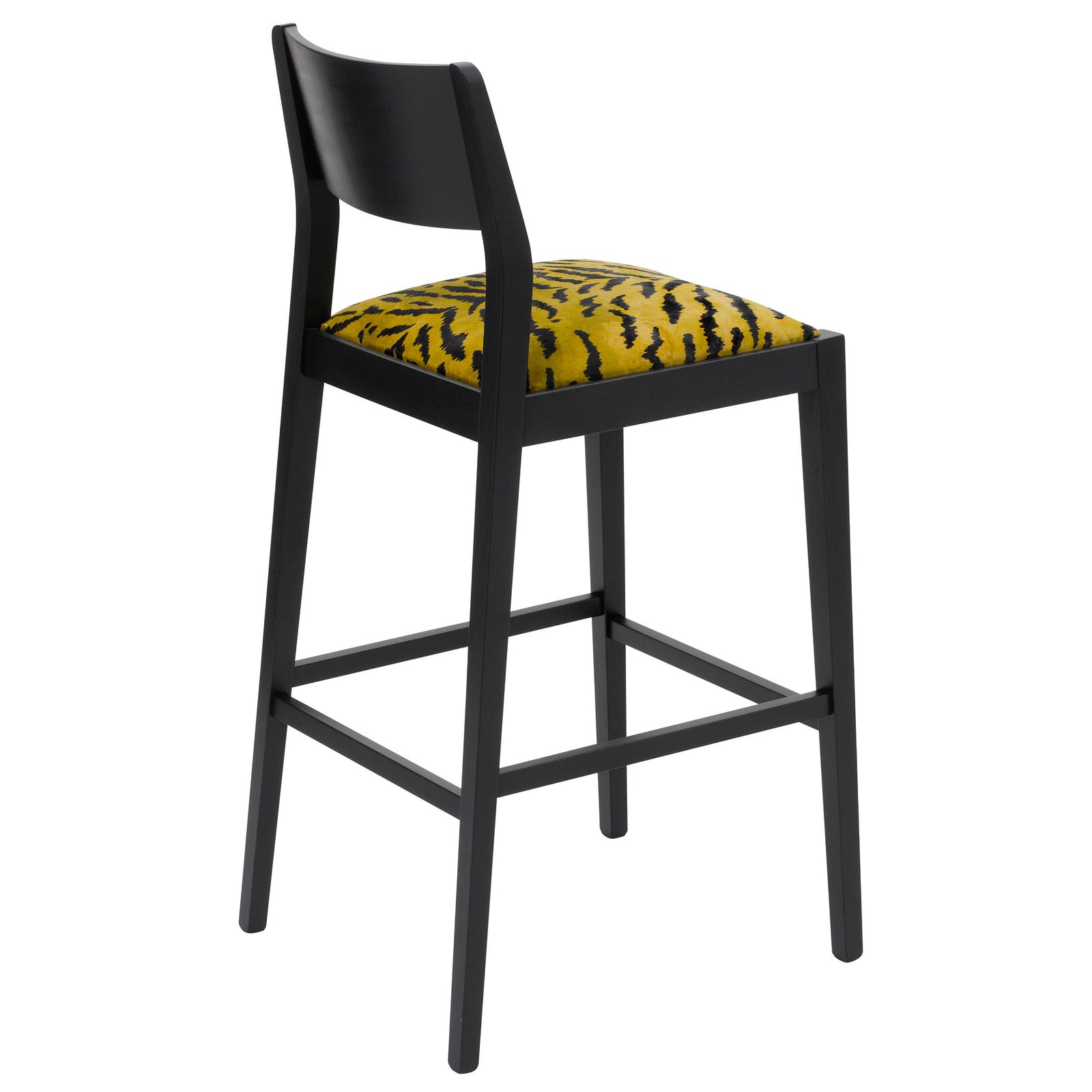 Rear view of the the Jack designer bar stool upholstered with the tigre design from the House of Hackney on luxury British velvet and silk finished in Jack black eggshell.