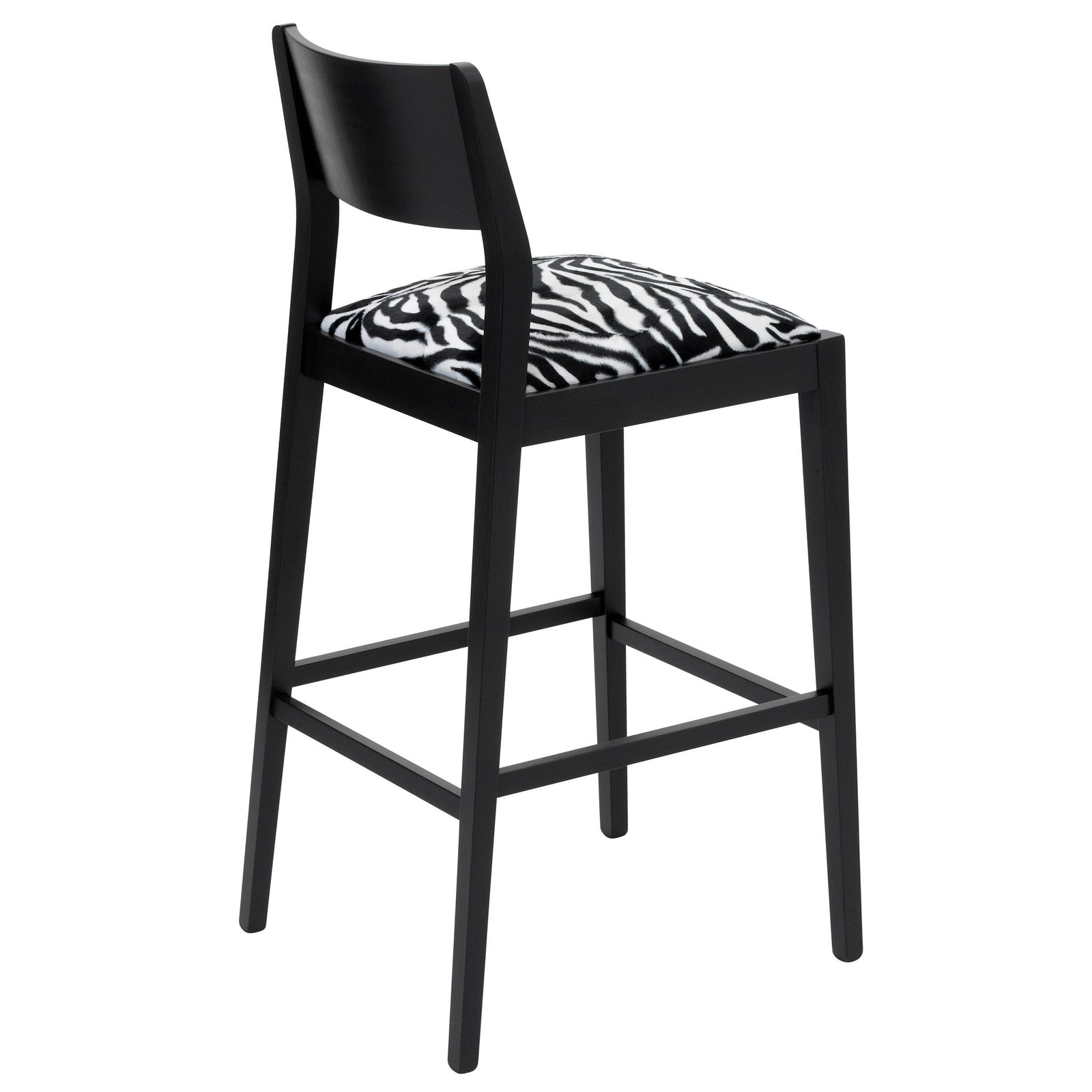 Rear view of the James designer bar stool upholstered in Zebra Faux fur and finished in Matte Black.