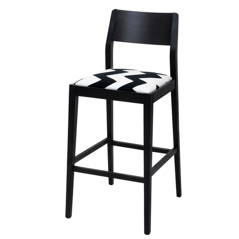 James Shaker Style Bar Stool Upholstered in Jon Burgerman Orange Burst Frooty Tooty