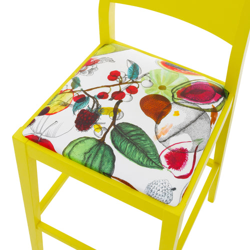 Our James Shaker Bar stool Upholstered in Sunny Manaos Perroquet by Christian Lacroix