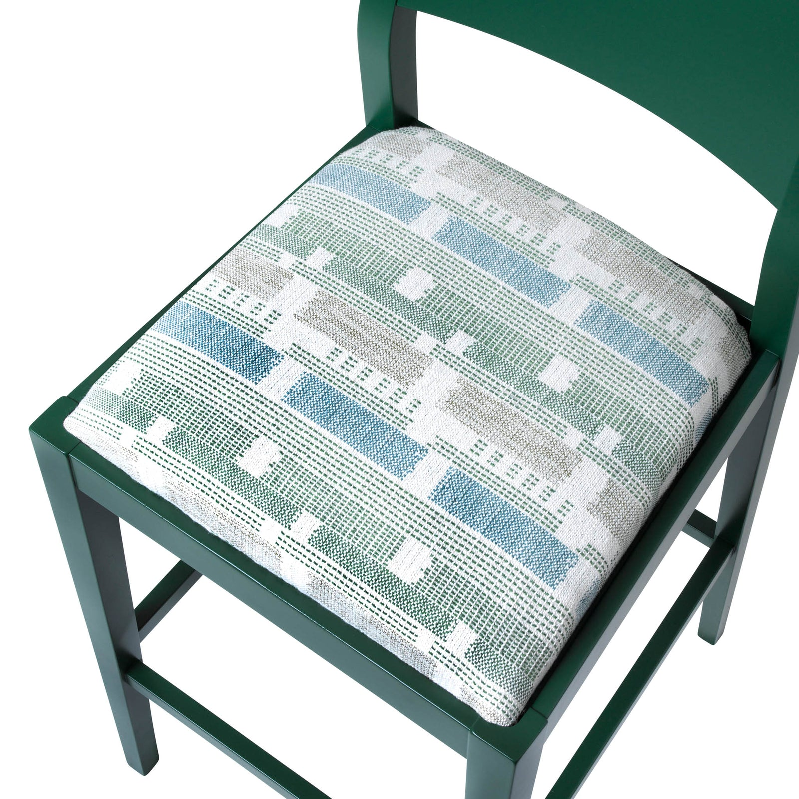James Luxury Bar Stool Upholstered in the luxury Loom Weave Green from Kit Kemp
