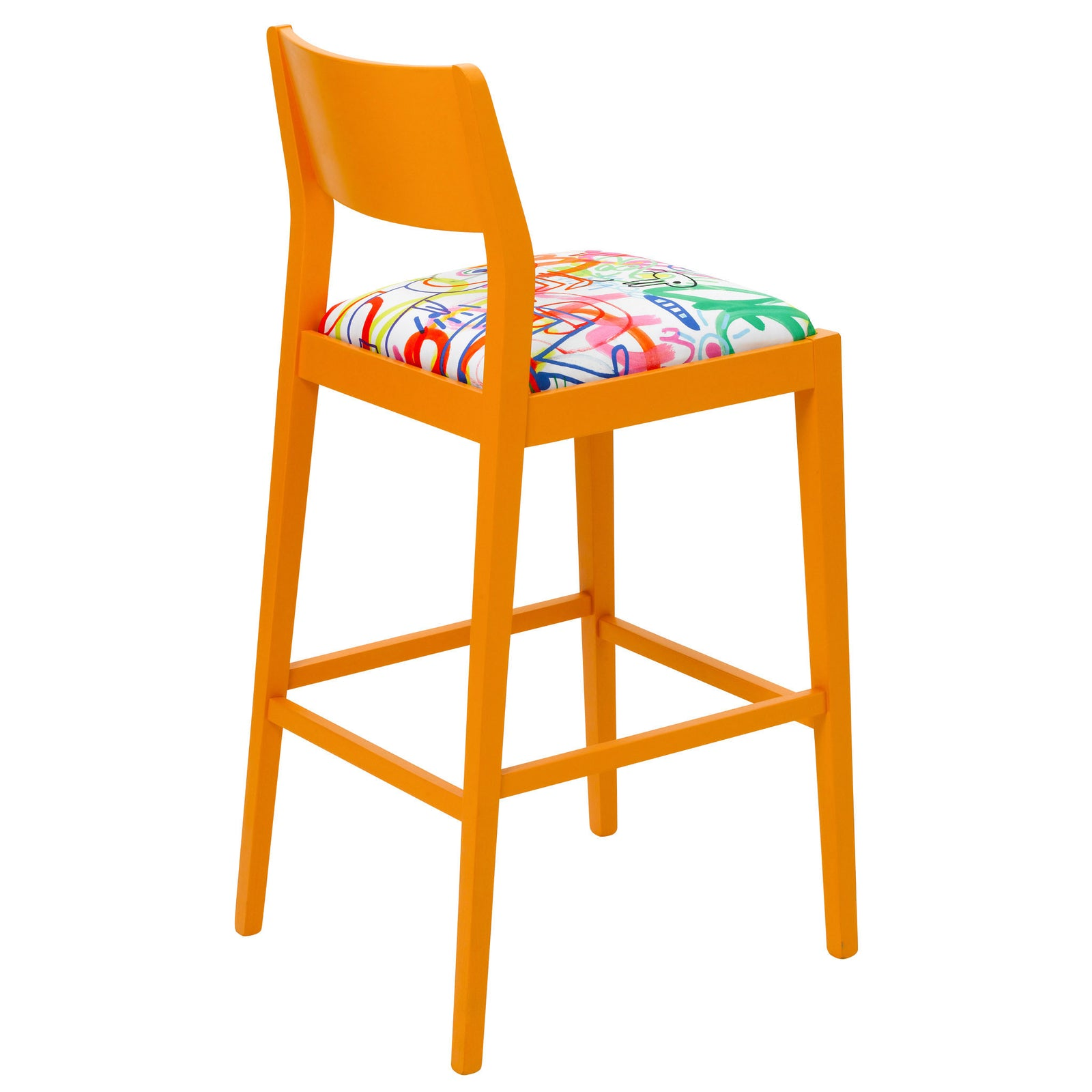 Rear view of the James designer barista bar stool upholstered in Rainbow Scrawl by Jon Burgerman finished in Marigold Eggshell.