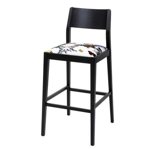 James Barista Bar stool with Christian Lacroix Fabric sprayed with Jack Black Eggshell paint.