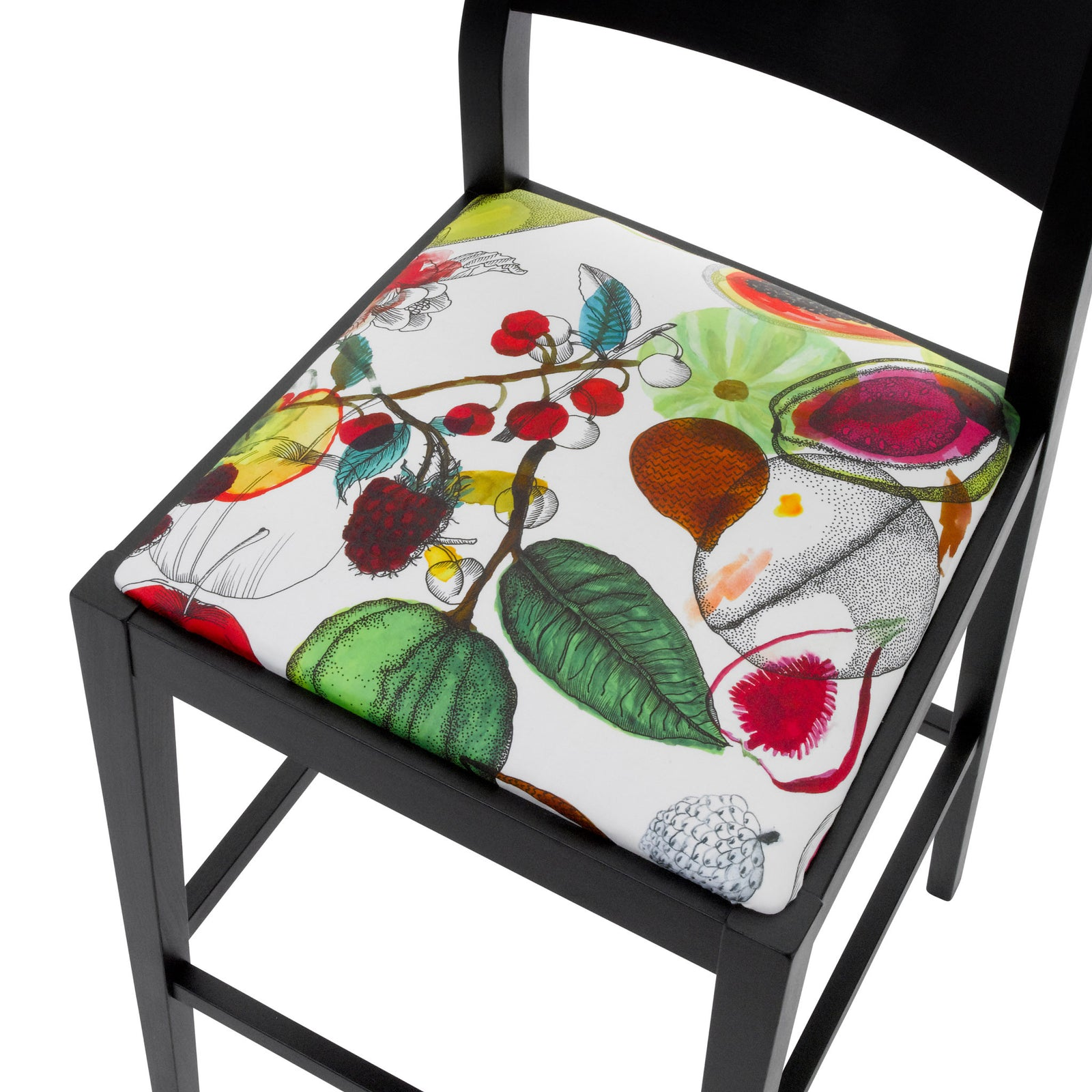 Seat View of the James Bar Stool upholstered with Christian Lacroix fabric, finished in black.