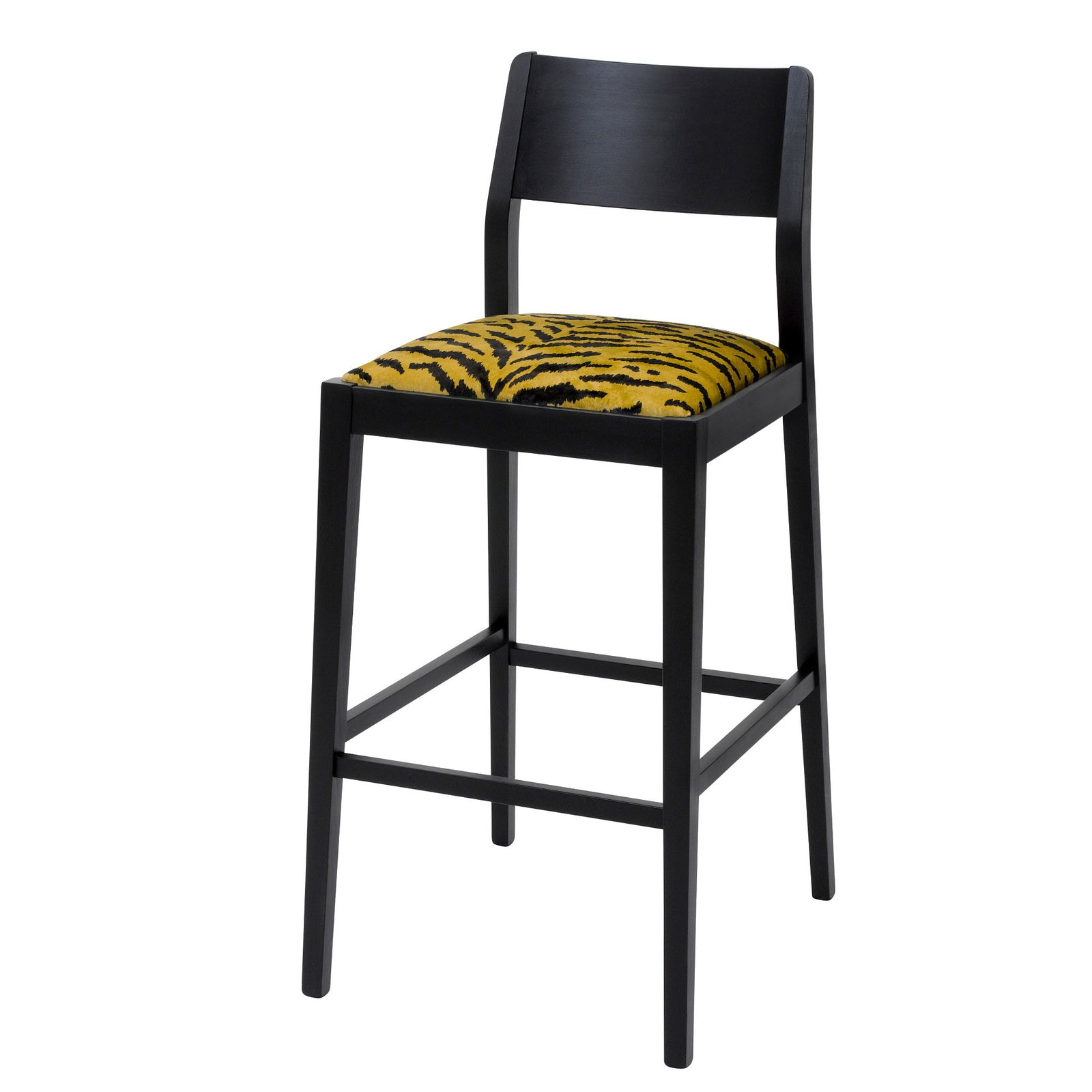 The Jack designer bar stool upholstered with the tigre design from the House of Hackney on luxury British velvet and silk finished in Jack black eggshell.