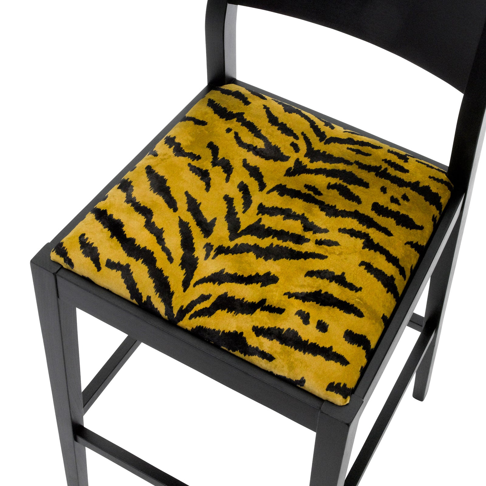 Seat view of the the Jack designer bar stool upholstered with the tigre design from the House of Hackney on luxury British velvet and silk finished in Jack black eggshell.