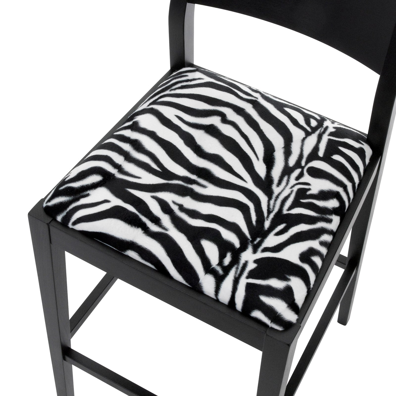 Seat view of the James designer bar stool upholstered in Zebra Faux fur and finished in Matte Black.