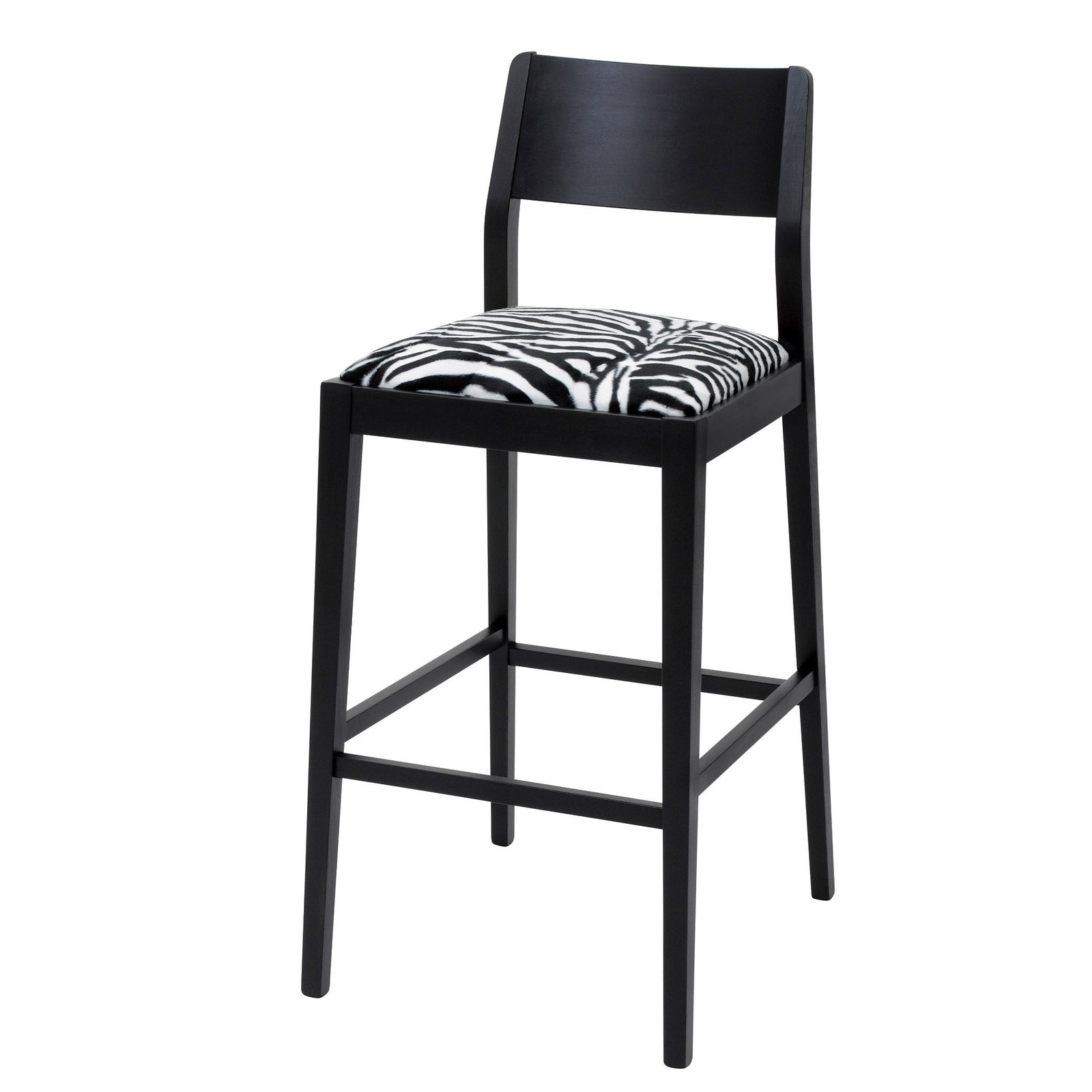The James designer bar stool upholstered in Zebra Faux fur and finished in Matte Black.