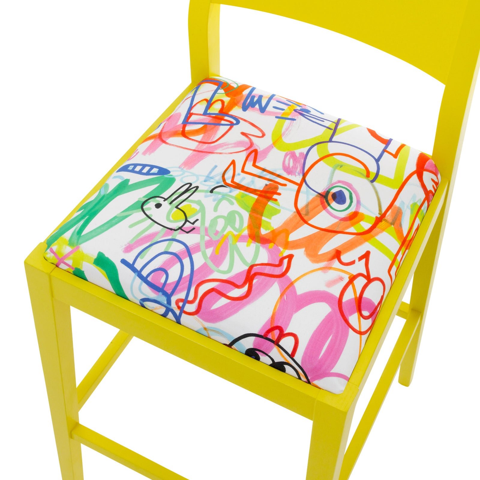 James Shaker Style Bar Stool Upholstered in Jon Burgerman Sunny Doodles