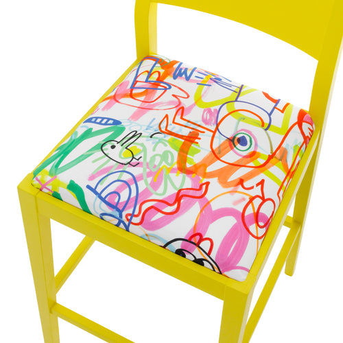 James Luxury Bar Stool Upholstered in Jon Burgerman Sunny Doodles